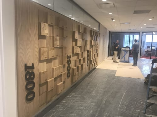 Art & Wall Decor by Scott Troxel Art seen at PricewaterhouseCoopers LLP, New York - Wood Founders Wall- Wood Wall Sculpture