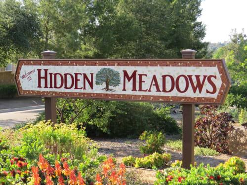 Public Mosaics by Marsha Wickham Rafter seen at Hidden Meadows, Hidden Meadows - Hidden Meadows Sign