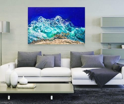 Paintings by Vanessa Mae seen at Private Residence, Wellington - Beachy Blues