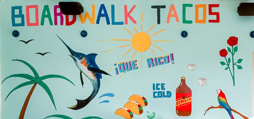 Murals by Sofia Enriquez seen at The Waterfront Venice, Los Angeles - Boardwalk Tacos Mural
