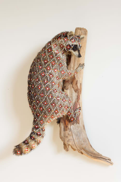 Sculptures by Cassandra Smith at Surety Hotel, Des Moines - Sequined Raccoon
