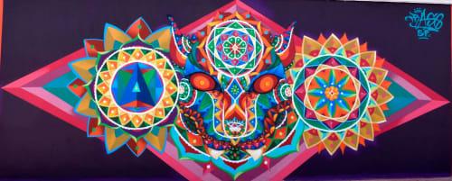 Murals by Frase Honghikuri seen at Tlaxcala, Tlaxcala - Mascara jaguar Huichol