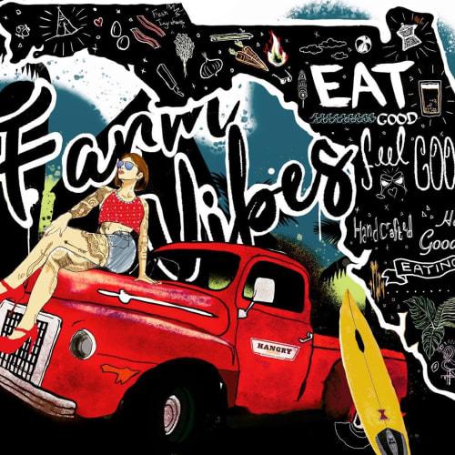 Murals by Stefan Smith (Semzart) seen at Hangry Kitchen, Palm Beach Gardens - Hangry Kitchen mural