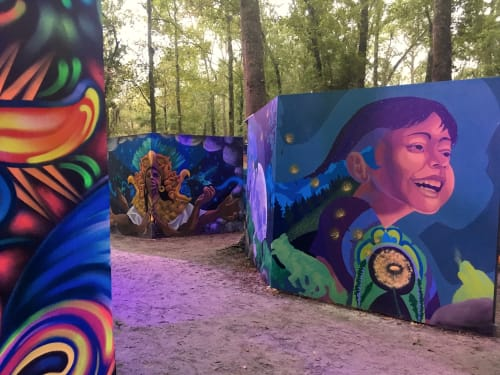 Murals by Annie Kyla Bennett Art seen at Hulaween 2018, Live Oak - Hope and Resilience mural