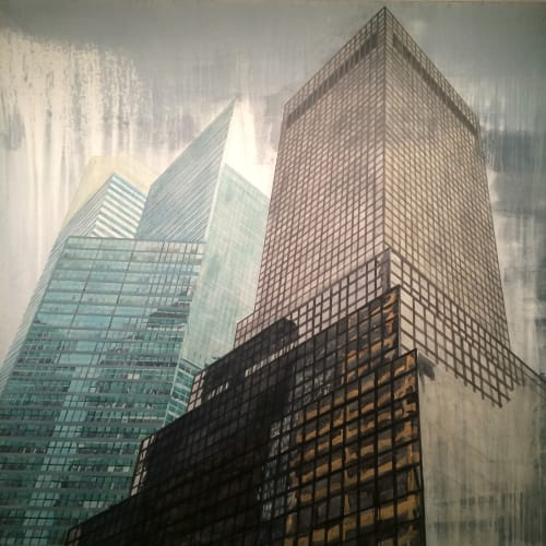 """Paintings by Jeremy Wagner Studio seen at Private Residence, New York - Untitled (midtown NYC Buildings) Acrylic on Canvas 72""""x72"""""""