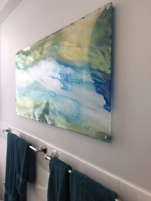 "Art Curation by Carla Goldberg Studio Art seen at Private Residence, New York - ""A River Runs Through It"" bathroom safe artwork graces an apartment with a modern edge"