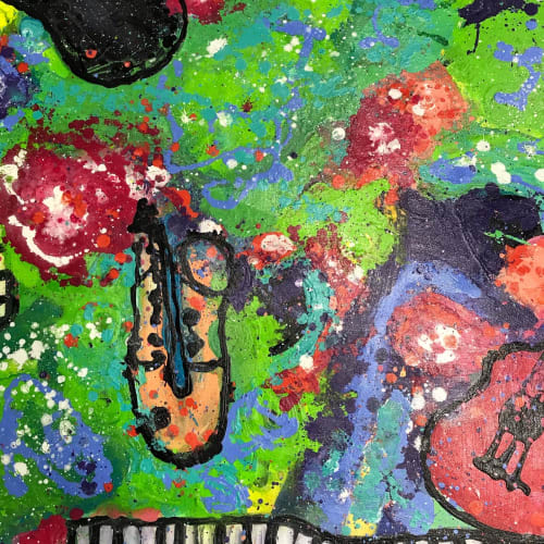 """Paintings by Michelle B. Noah   Current Artist Workshop seen at Current Artist Workshop, Garland - """"Jazzy Abstract"""""""