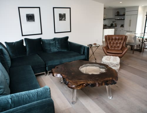 Tables by Lumberlust Designs seen at Private Residence, Phoenix - Giant Walnut Burl+Lucite Mod Coffee Table