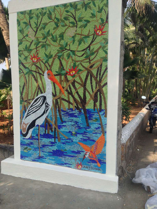 Murals by A & T Cunha Mosaic seen at Sangeet Samrat Naushad Ali Marg, Mumbai - Man Grows with Mangroves
