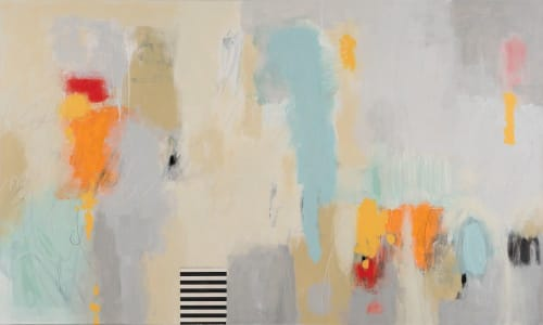 "Paintings by Rita Vindedzis seen at Private Residence, Toronto - ""Spring Break""  Abstract Painting"