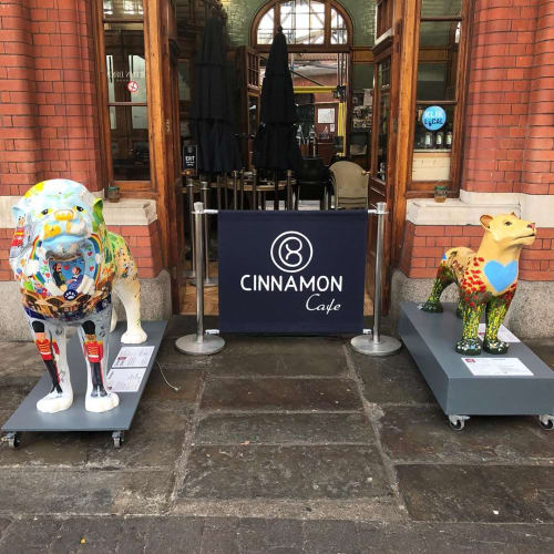 Sculptures by Beccy Blake seen at Cinnamon Cafe, Windsor - Windsgrrr Lion Sculpture