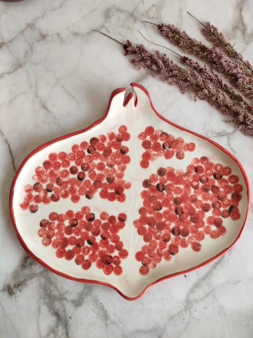 Ceramic Plates by Federica Massimi Ceramics seen at Private Residence, Roma - Pomegranate plate