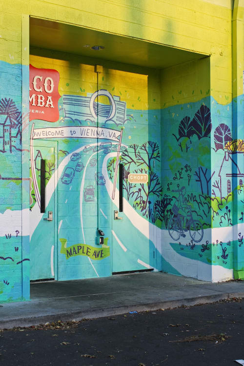 Street Murals by Eleanor Doughty at Vienna Shopping Center, Vienna - W&OD Trail: Highway of Community