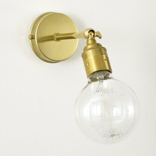 Sconces by Spark & Bell seen at Private Residence, Neuhütten - Wall Sconce with Vintage Brass Lampholder