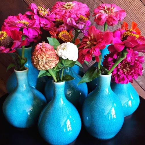Teal Porcelain Crackle Bud Vase   Vases & Vessels by Tina Fossella Pottery