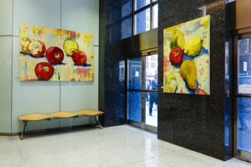Paintings by Margaret Zox Brown seen at 470 7th Ave #462, New York - 1 of 3 paintings commissioned for NYC commercial building's lobby