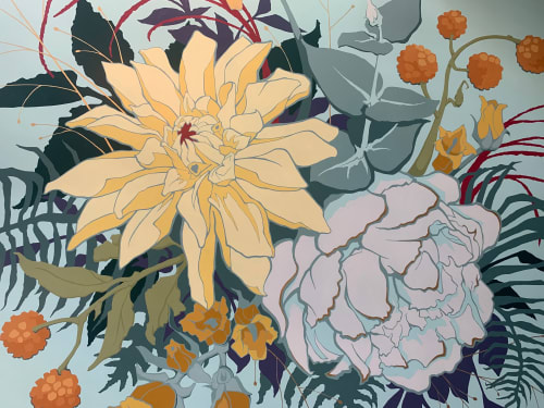 Murals by Shayne Art seen at 181 W Madison St, Chicago - Flower Mural