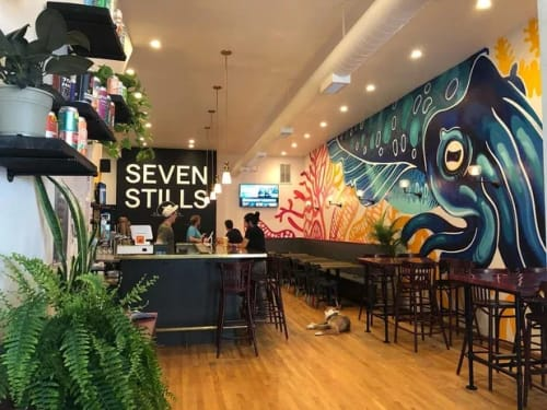 Murals by Joey Rose seen at Seven Stills - Mission Taproom, San Francisco - CUTTLEFISH