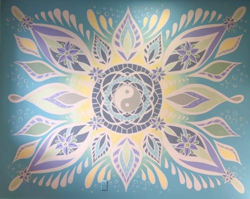 Murals by Urbanheart seen at CJR Acupuncture, Kelowna - Yin Yang Mandala Mural