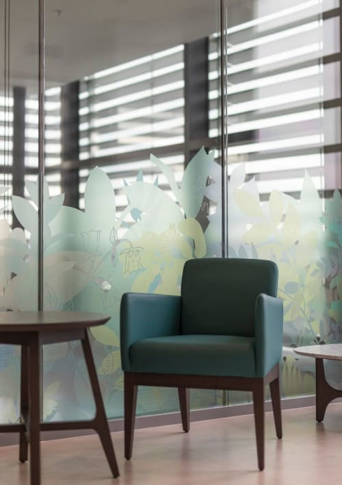 Art & Wall Decor by Helen Bridges seen at Guy's Cancer Centre, London - Botanical Window Graphics in HCA Healthcare