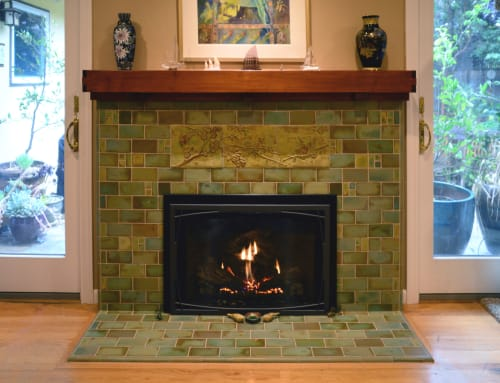 Tiles by Pasadena Craftsman Tile seen at Private Residence, Mountain View, CA, Mountain View - Birds & Bees Fireplace