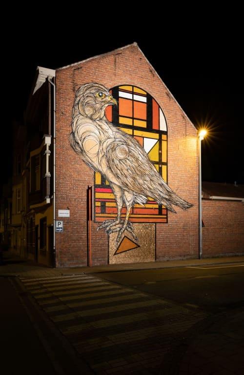 Street Murals by DZIA seen at Hendrik Heymanplein, Sint-Niklaas - Art Falco Peregrinus Deco