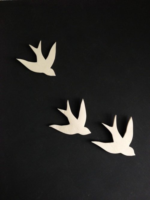 Art & Wall Decor by Elizabeth Prince Ceramics seen at Creator's Studio, Manchester - Together - Set of 3 Swallows Birds