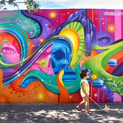 Street Murals by Rafael Se7 seen at Rio de Janeiro, Rio de Janeiro - Graffiti