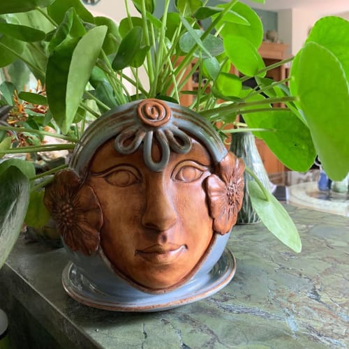 Vases & Vessels by Queen Bee Pottery seen at Queen Bee Pottery Studio, Coconut Creek - Garden Goddess Planter