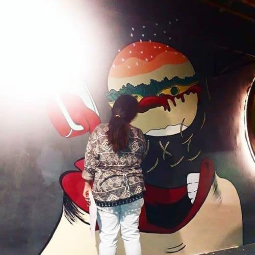 Murals by Artistdiksha seen at Cafe Bistreet, Gurugram - Wall painting for cafe