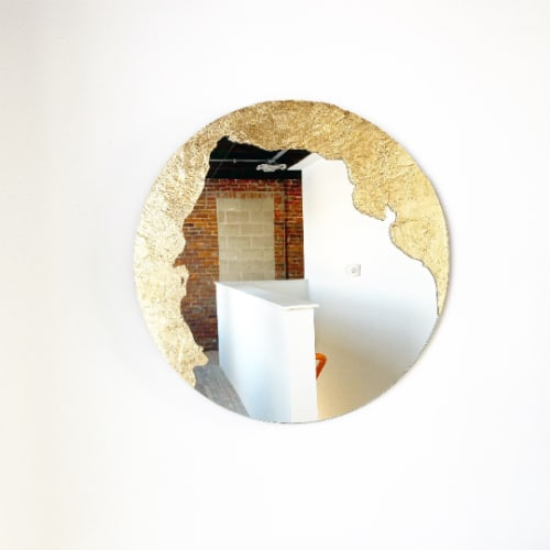 """Wall Hangings by Candice Luter Art & Interiors - """"Glissando"""" Edge Finish-Modern Abstract Mirror"""