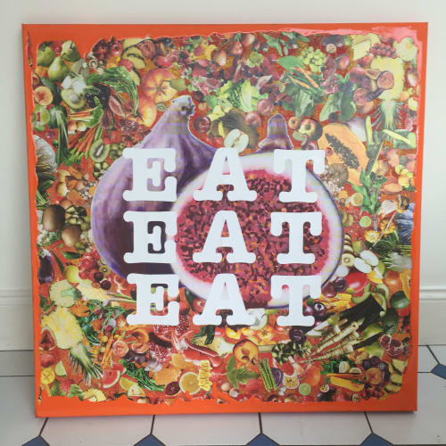 Paintings by Anthony Adams Art seen at Private Residence, Adelaide - Eat, Eat, Eat Collage on canvas 91.4 x 91.4 cms.