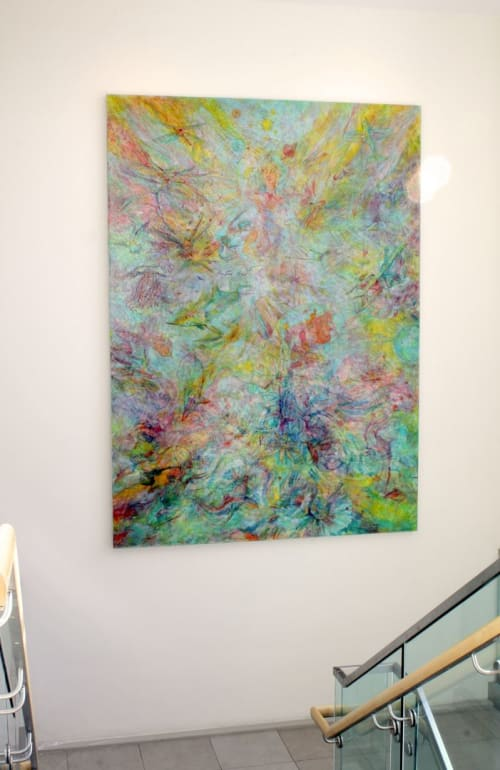 """Paintings by Lennon Michalski seen at University of Kentucky Hospital Heliport, Lexington - """"Unique and Her Paths to Fortune"""" painting"""