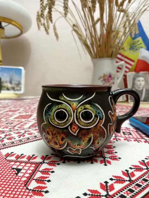 Cups by Cupscho seen at Private Residence, Kharkiv - Pottery coffee mug «Owl» 6.6 fl oz