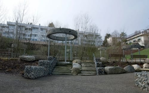 Public Sculptures by Adam Kuby seen at Thomas C. Wales Park, Seattle - Quarry Rings