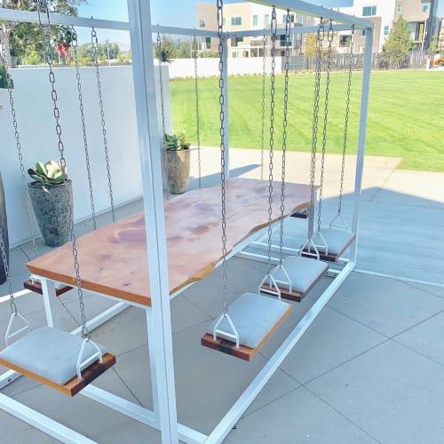 White 8-Seater SwingTable Live-Edge Cedar Slab   Tables by SwingTables
