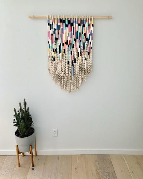 Macrame Wall Hanging by Strand + Stick seen at Private Residence, Boulder - Colorblock Wrapped Hanging