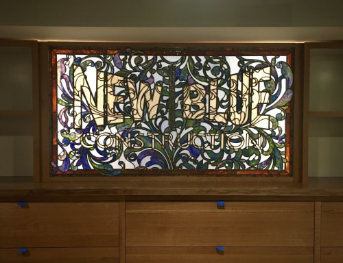 Interior Design by Soda Ash & Sand seen at New Blue Construction, Chattanooga - New Blue Construction Signage