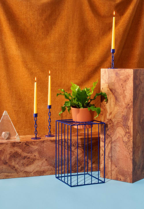 Furniture by Boonies Design + Fabrication seen at Private Residence, Philadelphia - Sunbeam Plant Stand + Chain Candle Stick