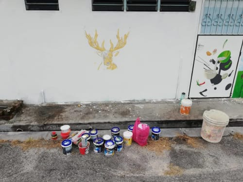 Murals by Kaeious Art seen at Private Residence, Gopeng - Deer of The Alley 鹿角巷壁畫
