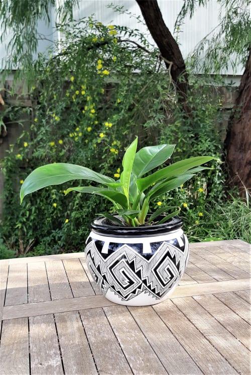 Vases & Vessels by Glaze Ceramics seen at Seasoned by Green Heart, Inverloch - Ceramic Planter - Green Leaves
