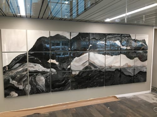 Paintings by Niki Woehler seen at CB Richard Ellis, Phoenix - Unleashed - 54ft x 6ft epoxy resin art wall installation