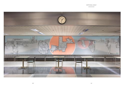 Murals by Mitchell Egly seen at O'Hare International Airport, Chicago - Here & There