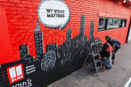 Murals by Tes Arlette seen at 10th & Piedmont, Atlanta - My Voice Matters