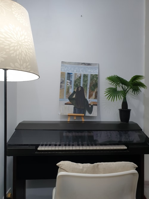 Paintings by PninaDesign seen at Private Residence, Tel Aviv-Yafo - Loneliness in Tel aviv with Rachel's palms