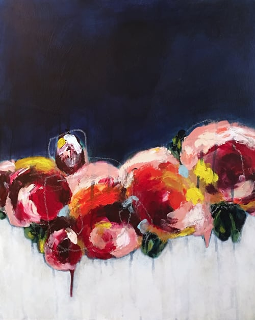 Paintings by Elisa Gomez Art at Laurelwood House, West Lake Hills - Abstract Floral Commission