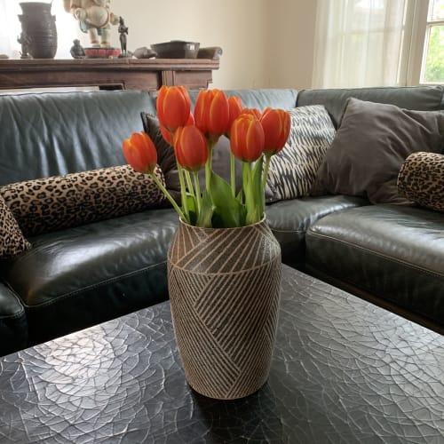 Vases & Vessels by Donna de Soto seen at Private Residence, Los Angeles - Large Vase with Weave Pattern