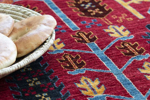Rugs by Qadimi seen at Private Residence, Wilson - Wheatfield in Red Afghan Persian Rug 6'x9'