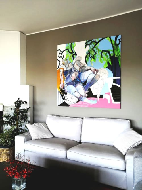 Paintings by Charoula Nikolaidou seen at Private Residence, Thessaloniki - TITLE: Captured DIMENTIONS: 140x140cm
