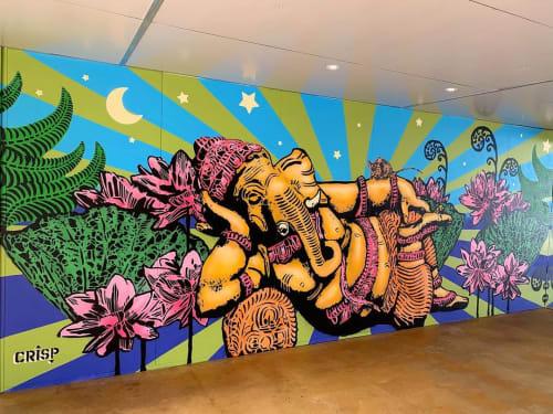 Murals by CRISP seen at Sama Studio - Yoga, Armidale - Ganesha mural